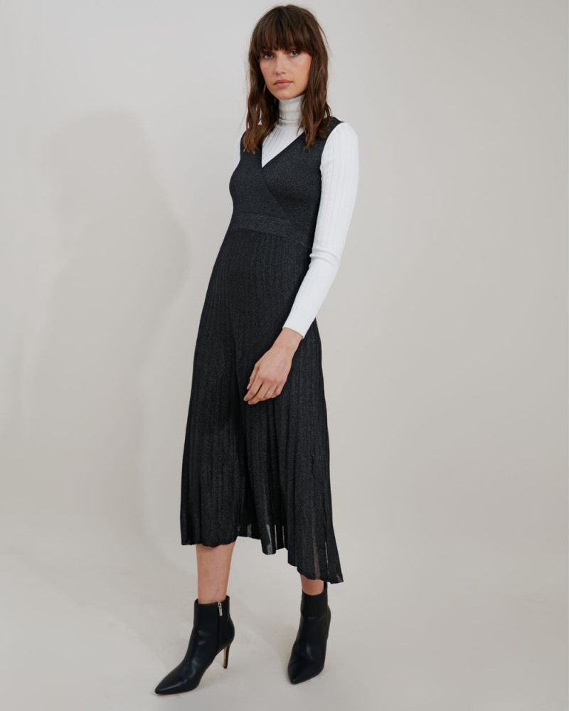 Rachel Pleated Lurex Knit Dress