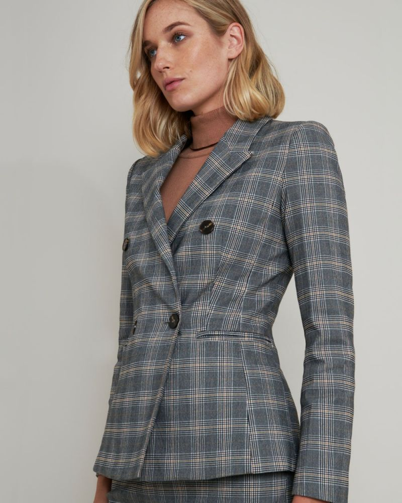 Cynthia Double-Breasted Check Blazer