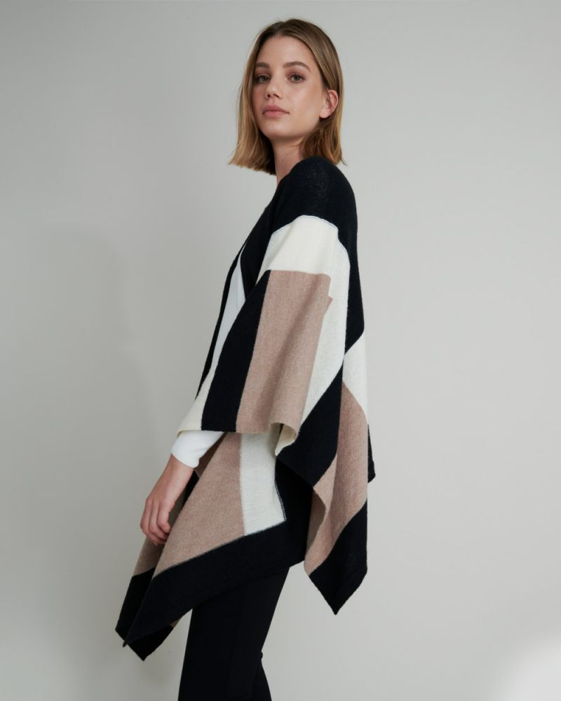Ivory Colour Block Poncho