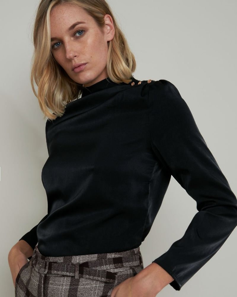 Mae Button Detail Long Sleeved Top