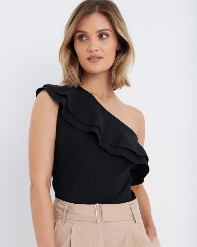 Demi One-Shoulder Ruffle Knit Top