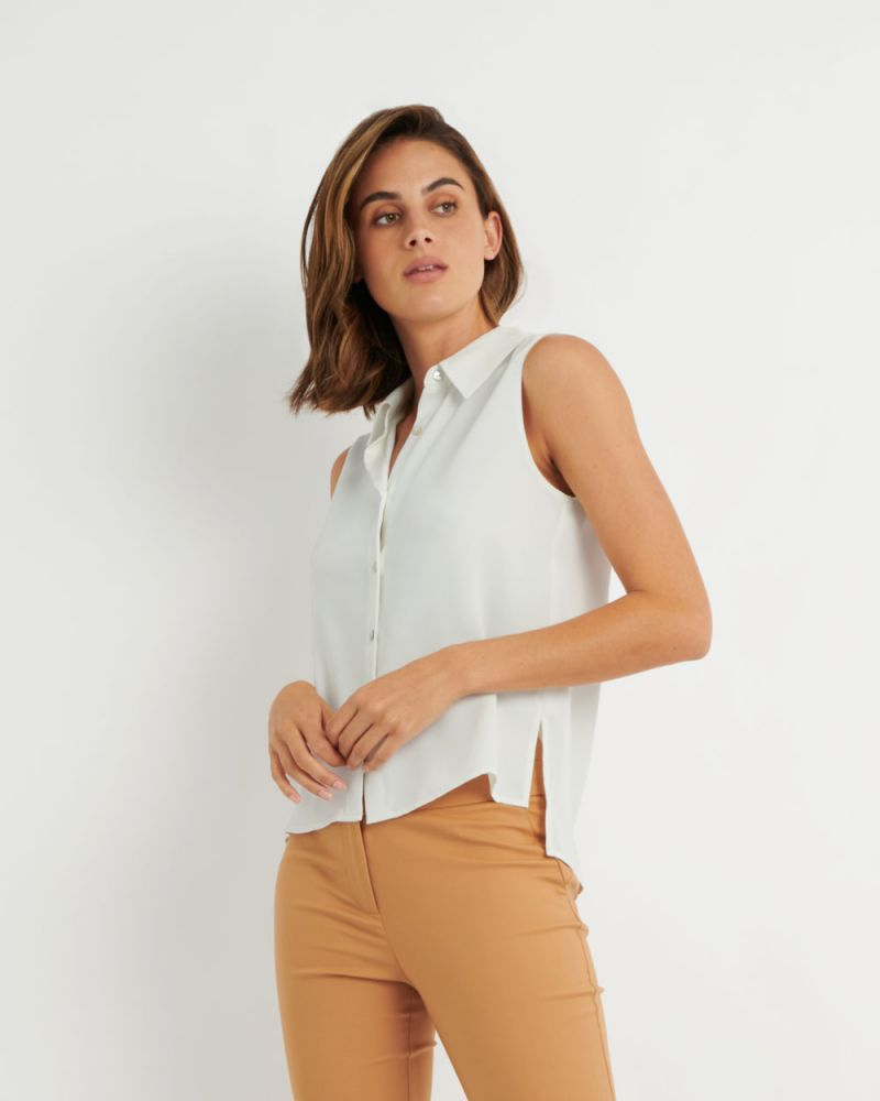 Lucie Collared Sleeveless Shirt