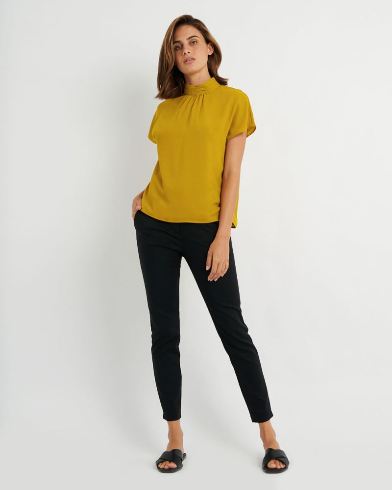 Alia High-Neck Pleat Blouse