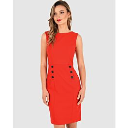 Davina Sleeveless Dress - Red | Tuggl