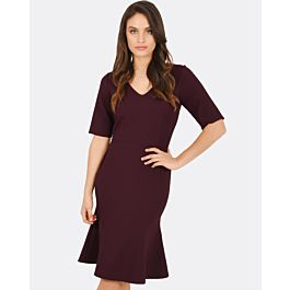 Odessa Fluted Dress - Plum | Tuggl