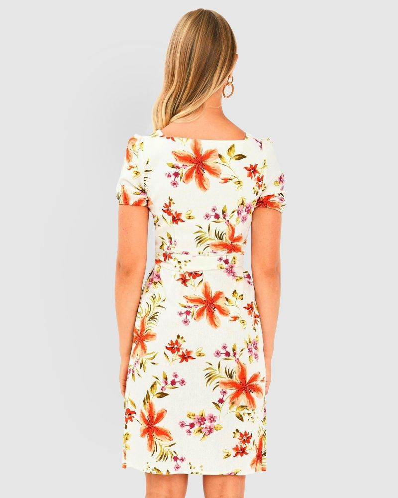 Sharon Floral Linen Dress