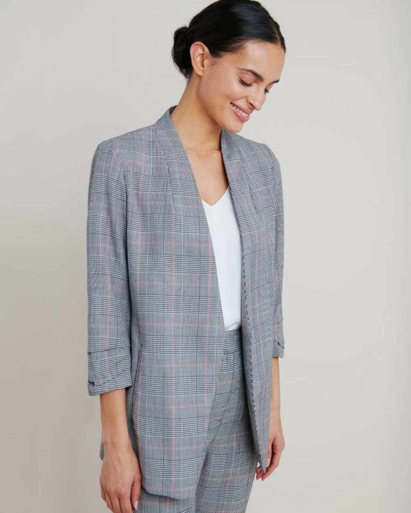 Wilma Collarless Check Blazer