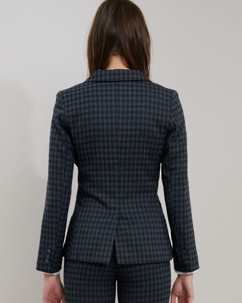 Halle Plaid Single Button Blazer