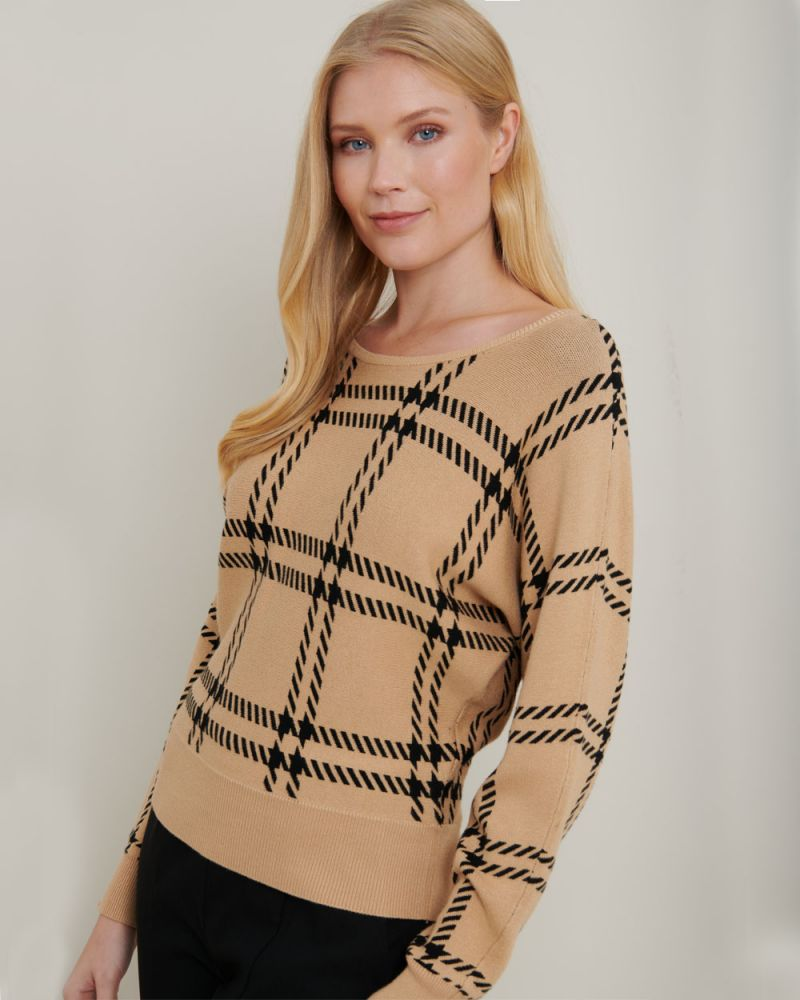Michaela Boat Neck Check Knit