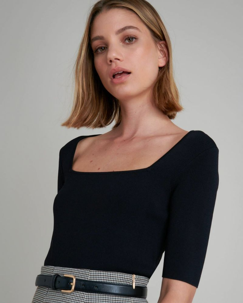 Kara Square Neck Short Sleeve Knit