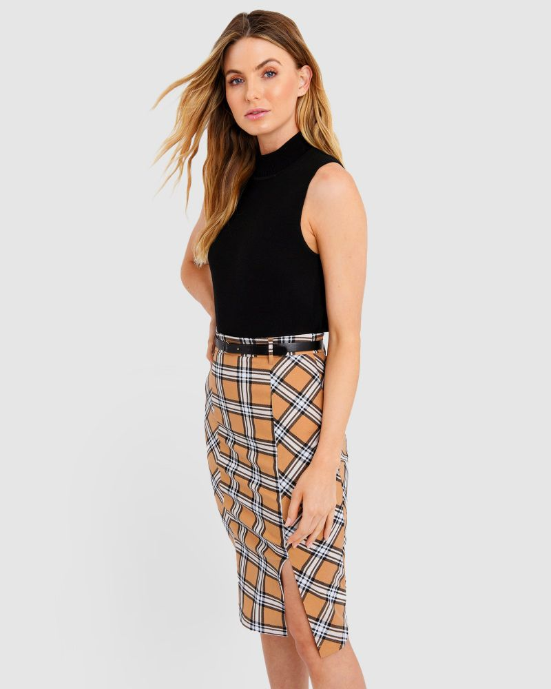 Gwen Belted Check Skirt