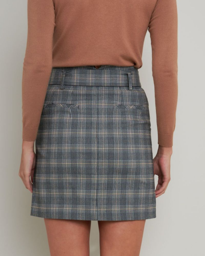 Cynthia Belted Check Skirt