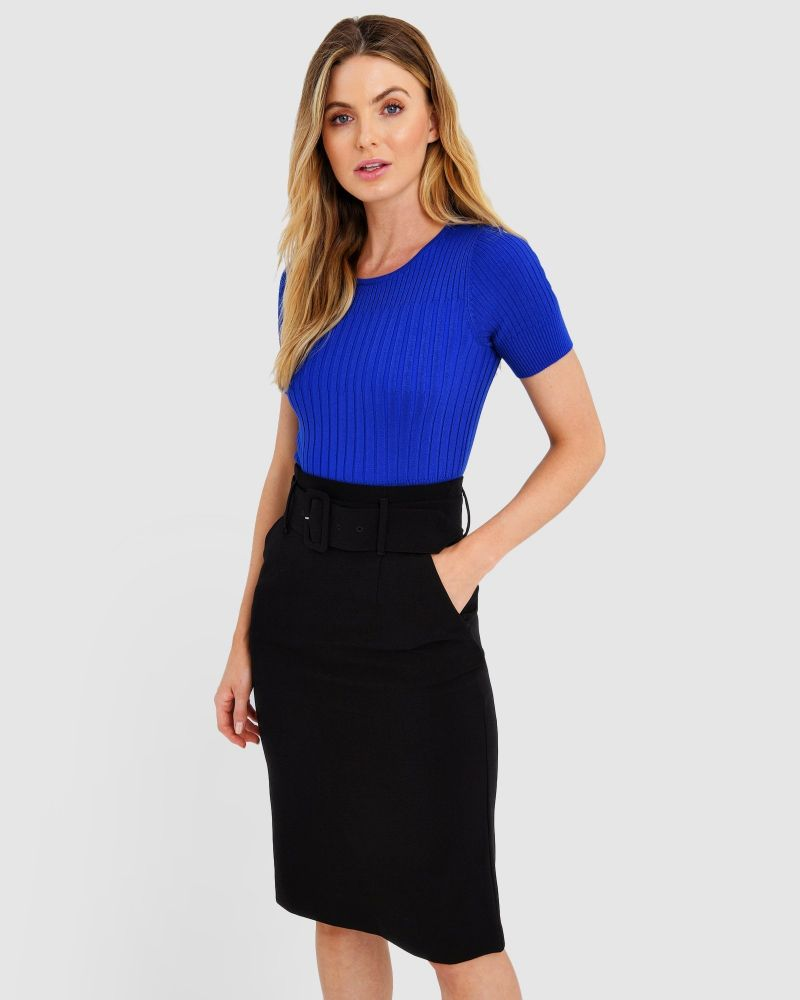 Hayley Belted Pencil Skirt