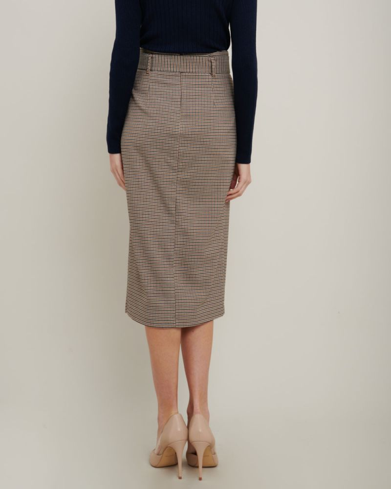 Talia Houndstooth Belted Skirt