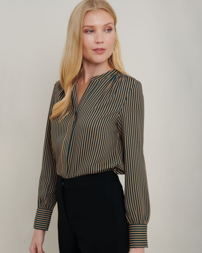 Dana Pinstripe Long Sleeve Blouse
