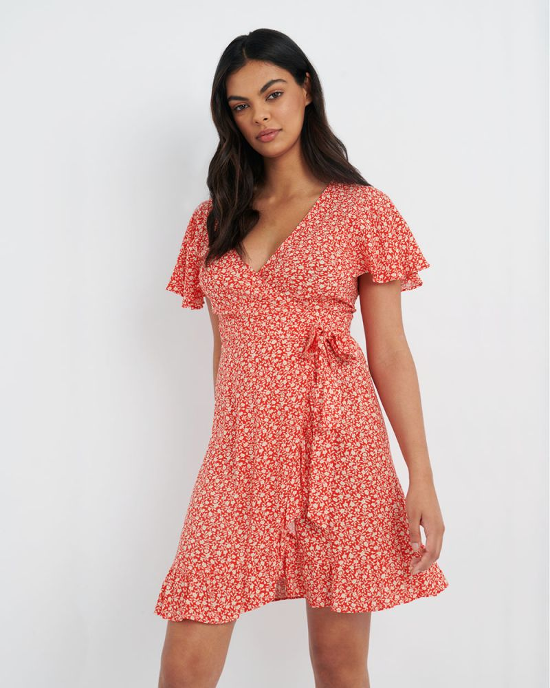 Ann Ditsy Floral Wrap Dress