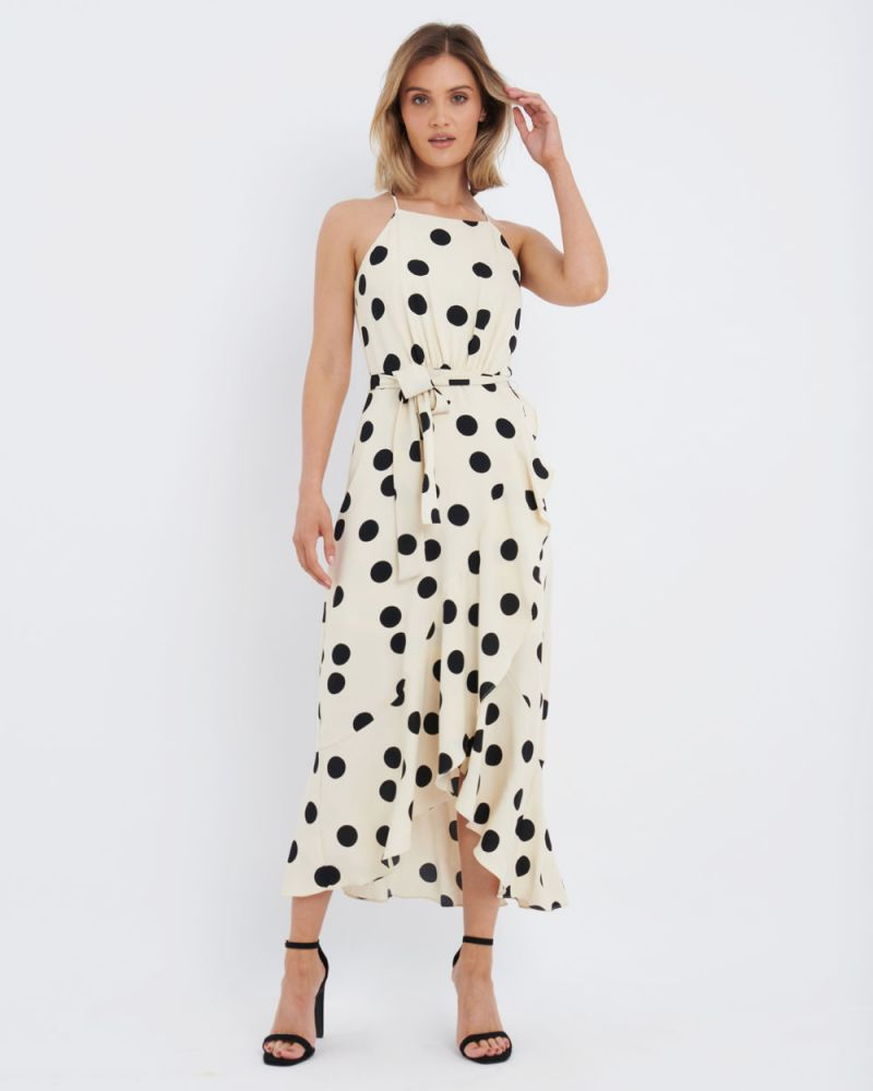 Olivia Polkadot Asymmetric Maxi Dress