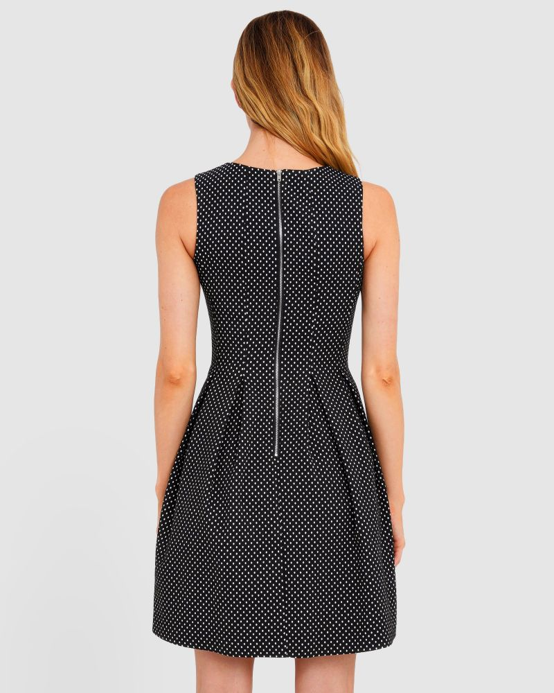 Raven Polkadot A-Line Dress