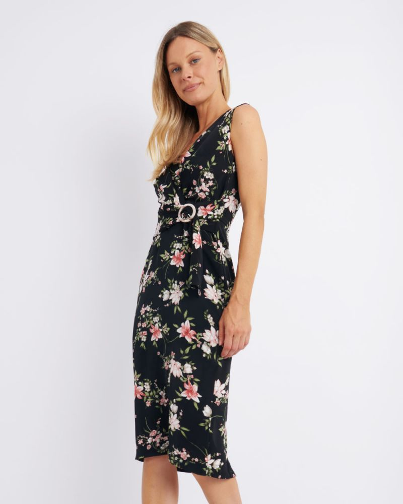 Ava Floral Belted Midi Dress