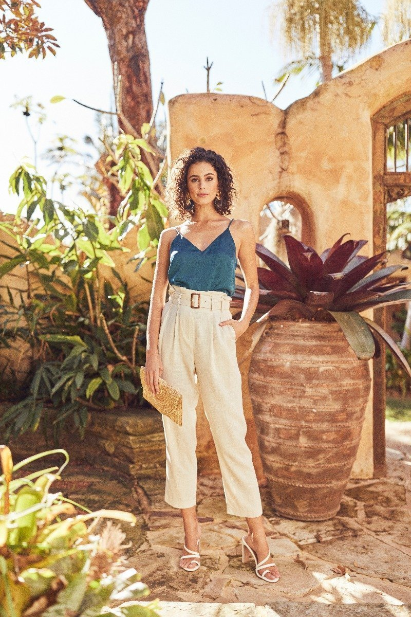 Model Wearing Teal Camisole and Linen Pants