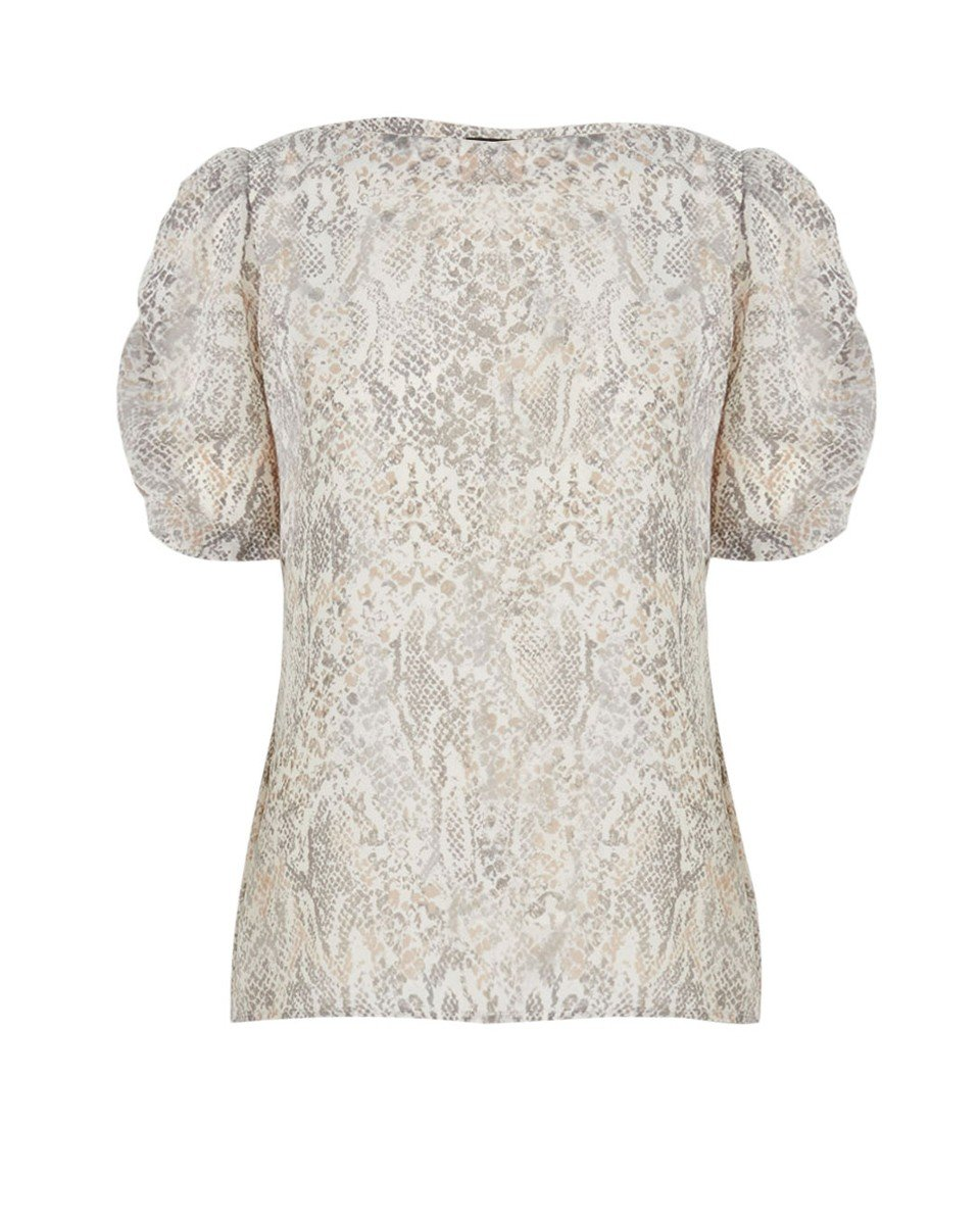 Gema Elbow Sleeve Snake Print Top